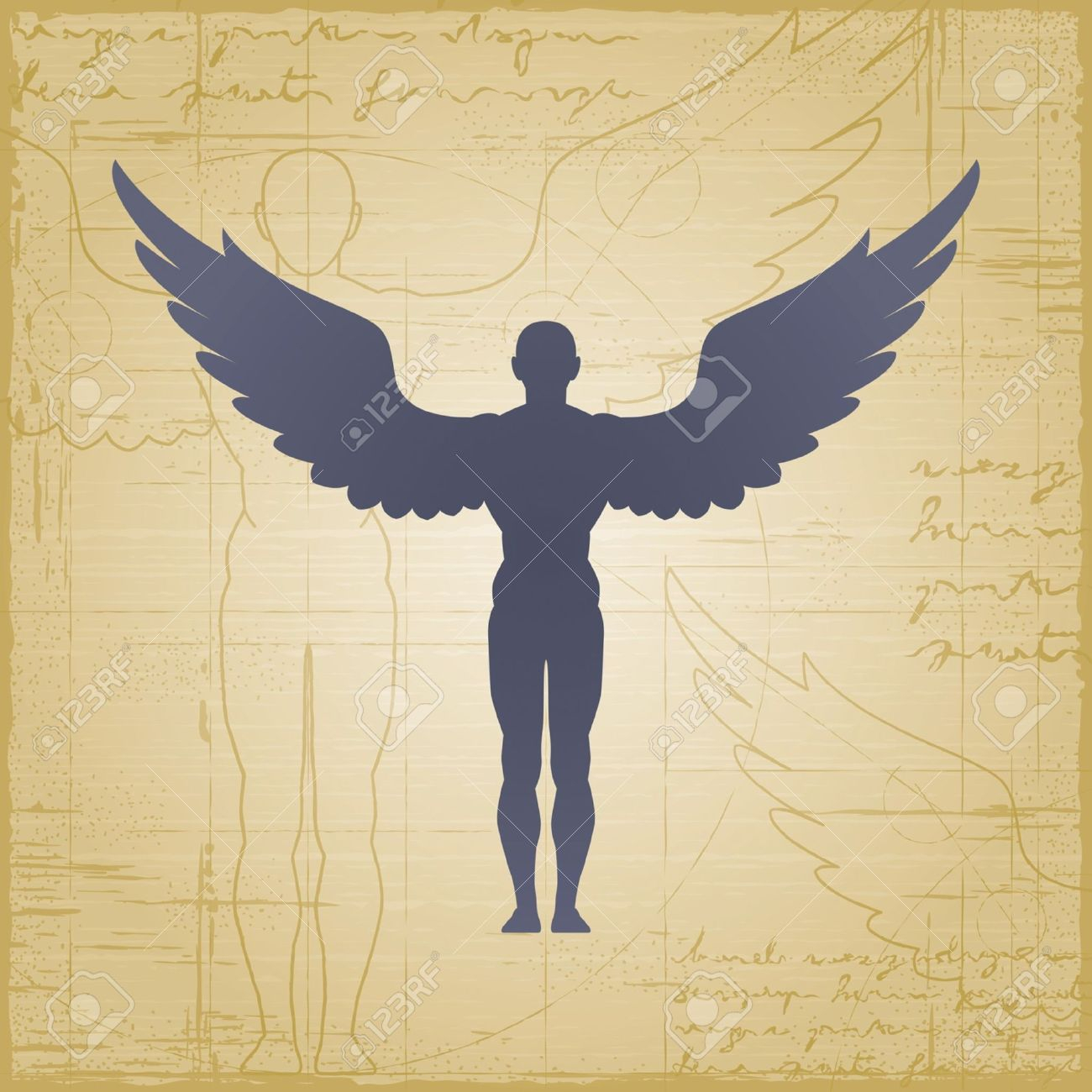 1300x1300 Man With Wings Drawing Winged Man Royalty Free Cliparts, Vectors