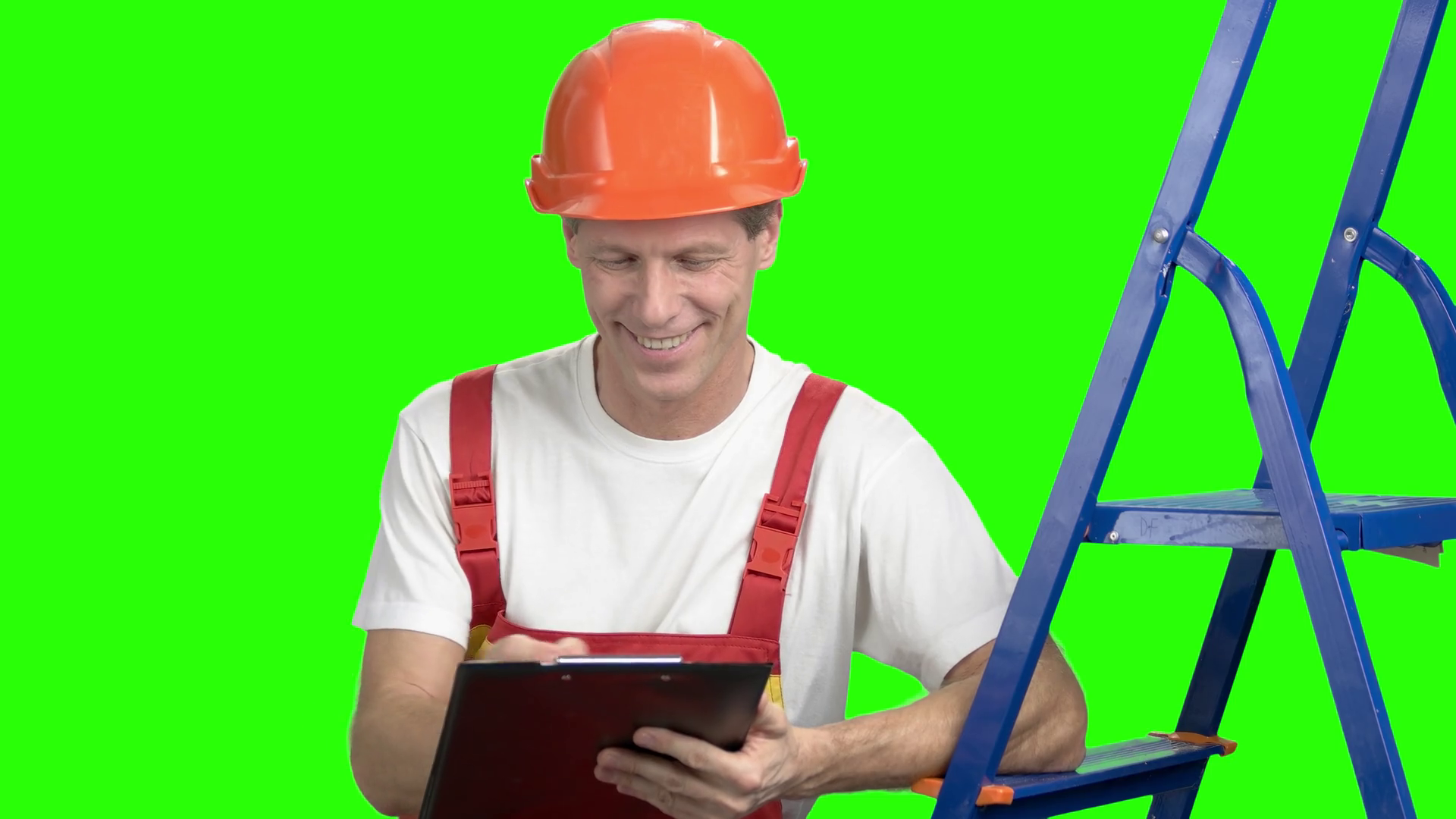 1920x1080 Foreman Checking New Object, Green Screen. Smiling Project Manager