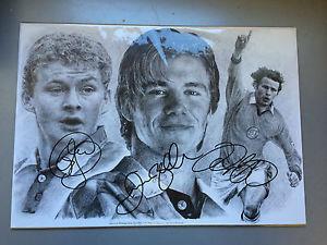 300x225 Beckham Giggs Solksjaer Signed Pencil Drawing Print Manchester