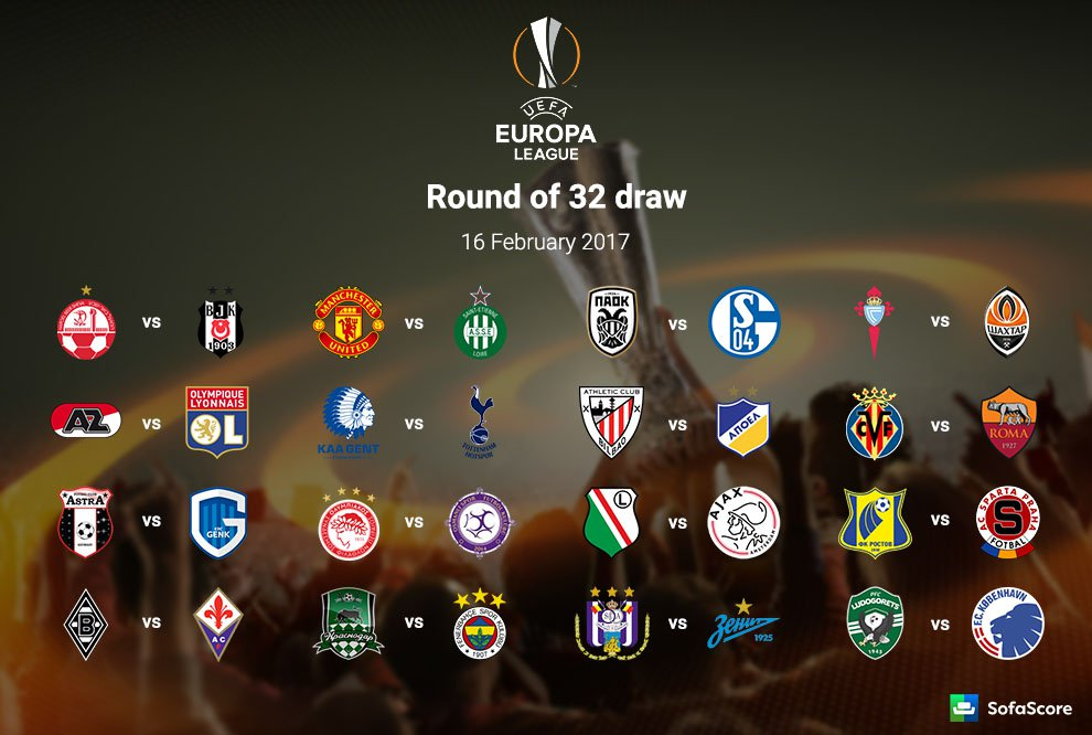 990x666 Europa League Round Of 32 Full Draw Manchester United Draw St