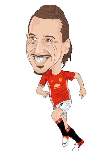 353x500 Man Utd Ibrahimovic By Vandersart Sports Cartoon Toonpool