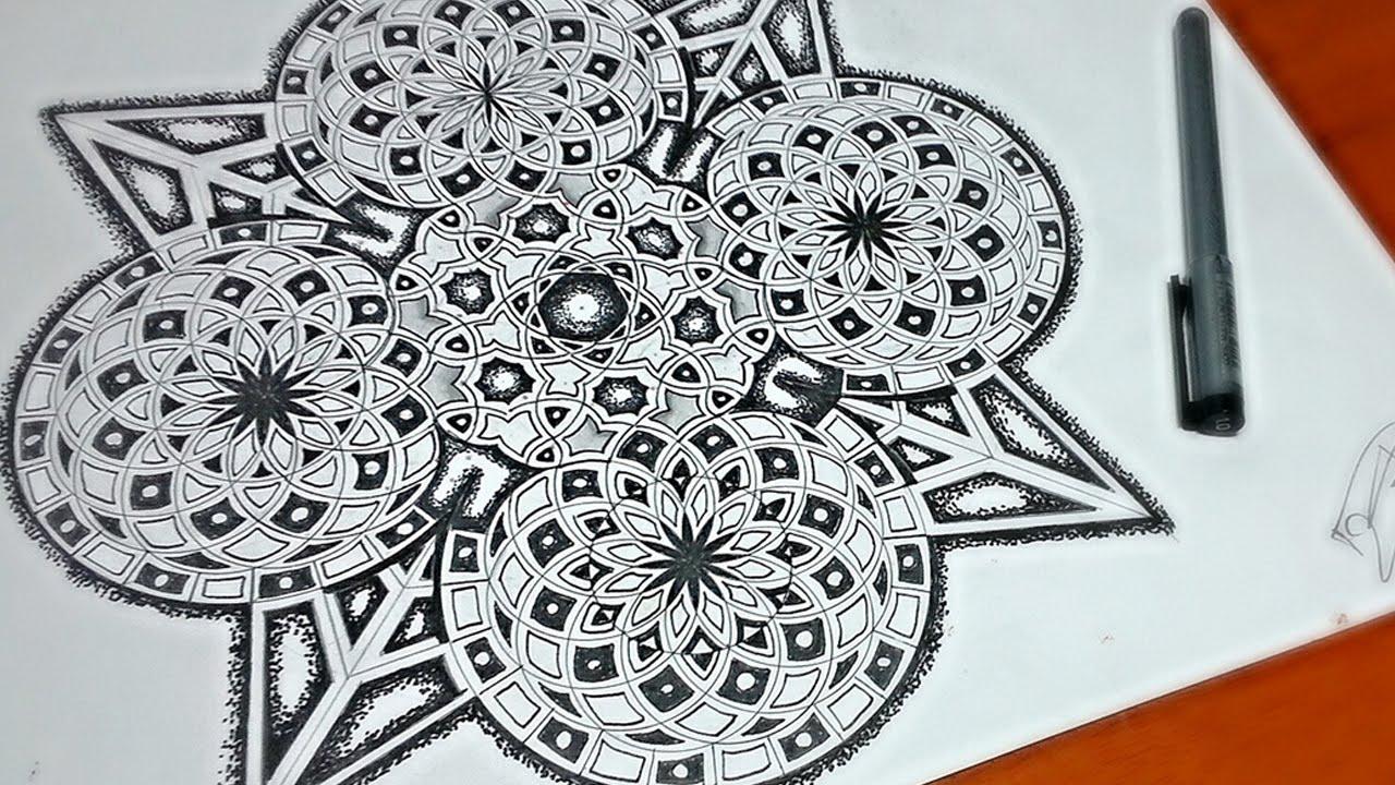 1280x720 Drawing The Arq Mandala Design In Timelapse