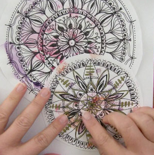 303x304 Draw and Color Expressive Mandala art (Mandala I) Louise Gale