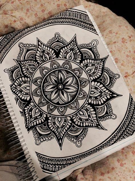 474x632 Mandala ink drawing by ArtbyAlyssia on Etsy doodles Pinterest