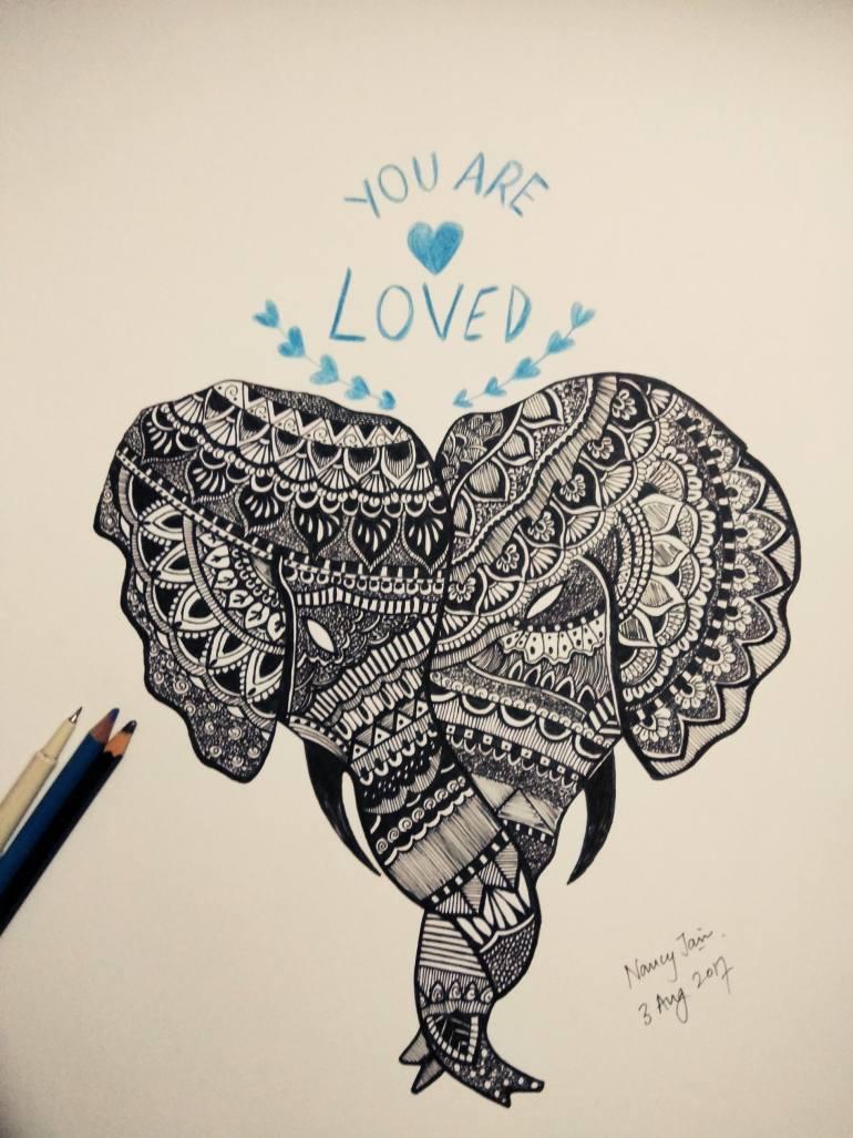 770x1027 Saatchi Art Elephant Mandala Art Drawing By Nancy Jain
