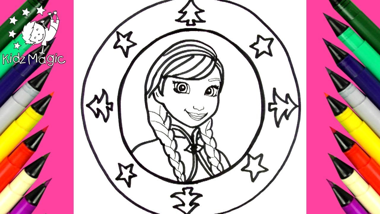 1280x720 Draw And Color Disney Frozen Anna Christmas Mandala Coloring Page