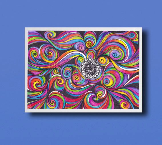 567x508 Healing Energy Modern Art Print, Abstract Psychedelic Art Drawing