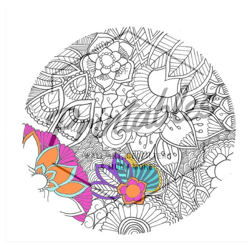800x800 Adult Coloring Page, Printable Coloring Book, Mandala Color In Art