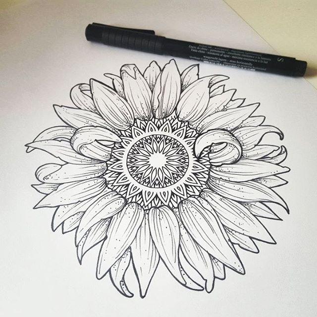 640x640 Printable Sunflower Mandala Drawing