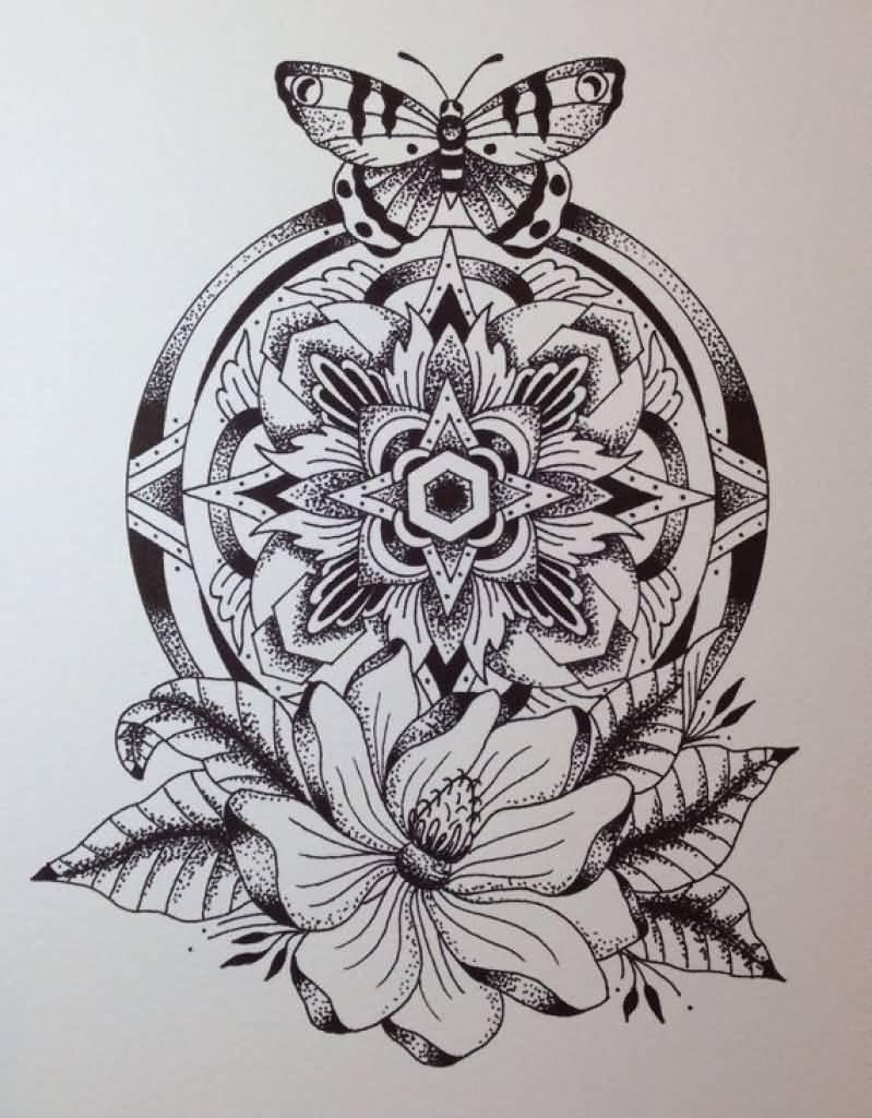 799x1024 Butterfly And Mandala Flower Tattoo Design