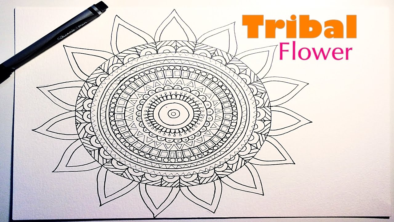 1280x720 Draw A Tribalaztec Mandala Flower For Beginners