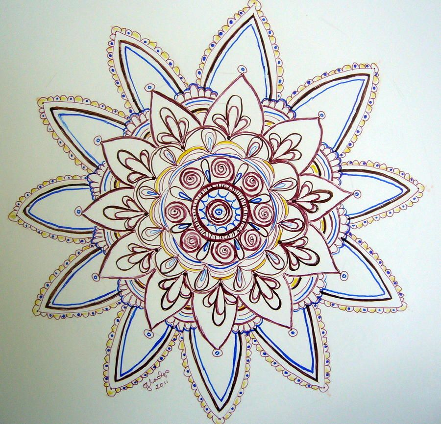 900x866 Flower Mandala Flower Mandala Drawing By Gladys Childers