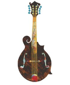 236x288 Conte' Pencil And Water Color Mandolin Drawingpainting