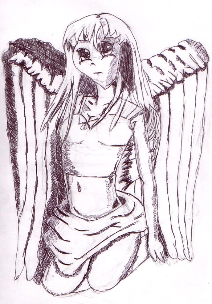 688x984 Black And White Manga Angel By Sweetanicca