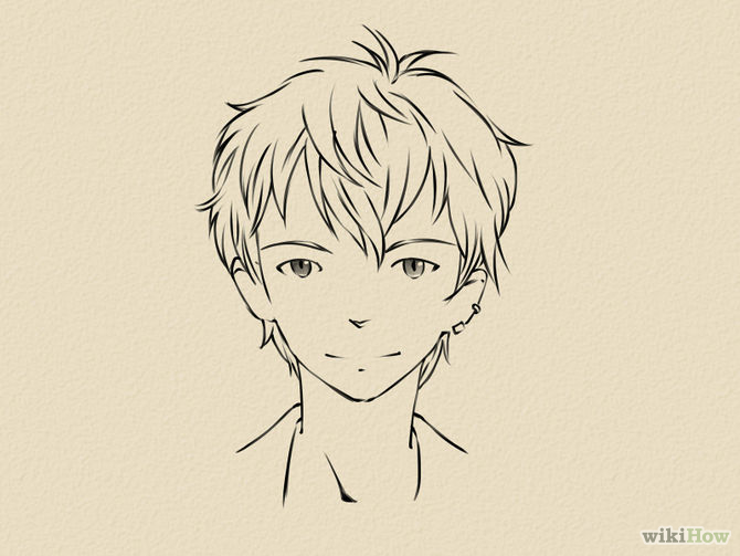 670x503 Draw a Manga Face (Male) Step 2 jpg (670×503) How to draw a male