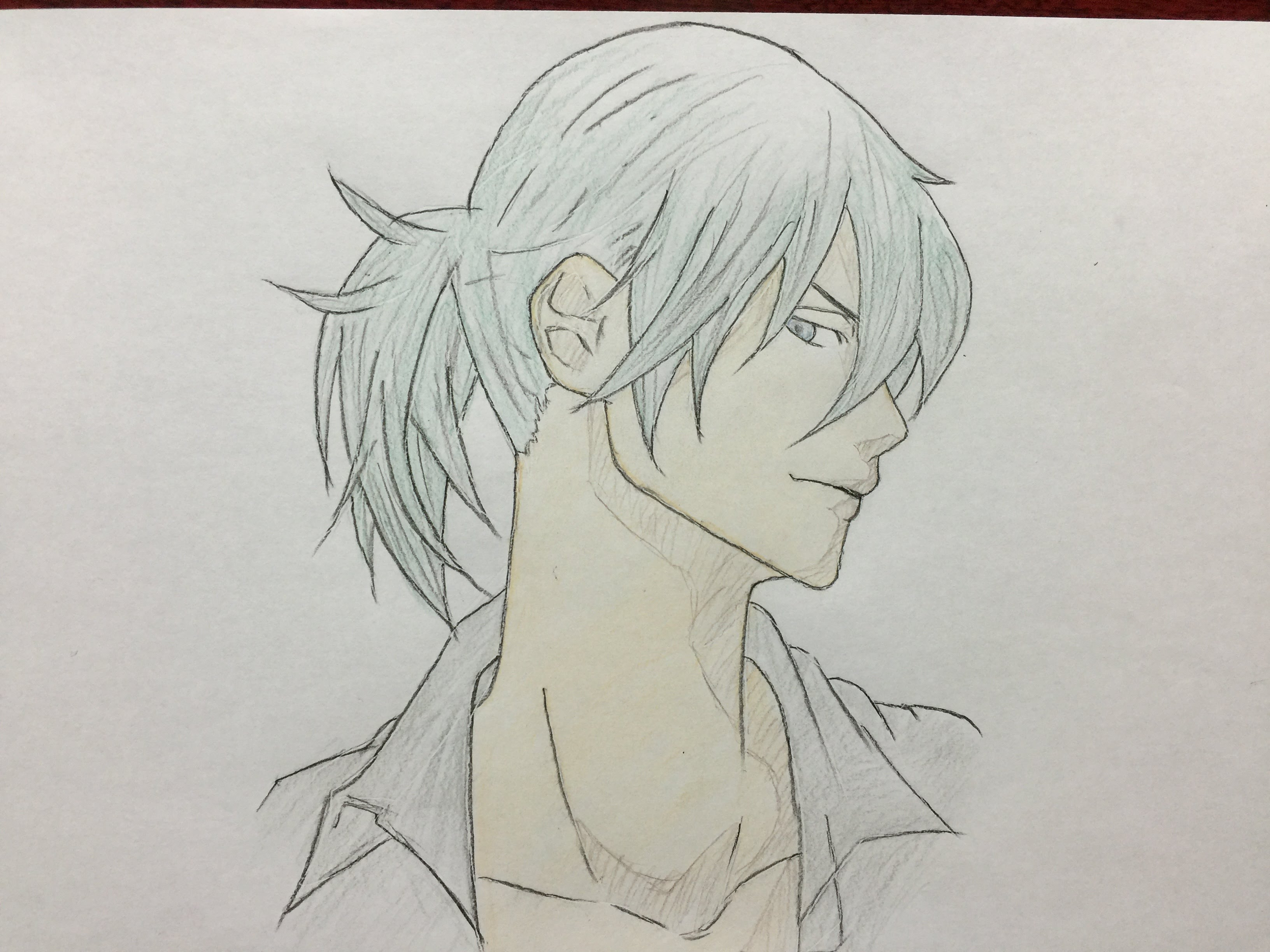 3264x2448 How to draw Manga handsome guy colored pencil