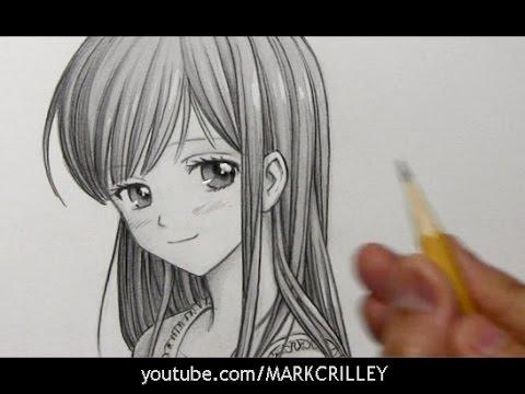 480x360 Drawing Time Lapse Manga Girl with Long Hair