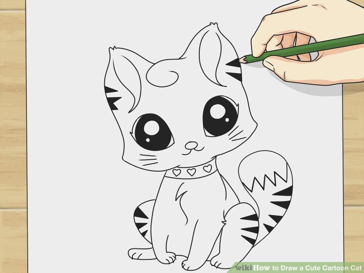 728x546 Draw a Cute Cartoon Cat Cartoon, Manga art and Drawings