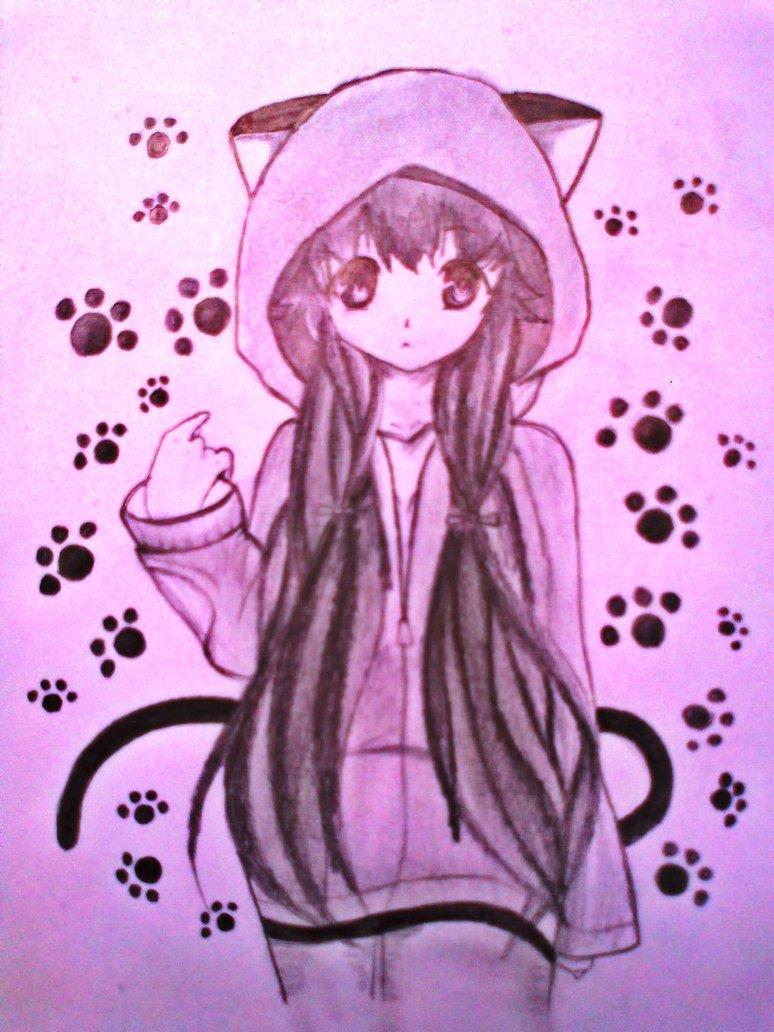 774x1032 Cute Anime Cat Girl By Xinje