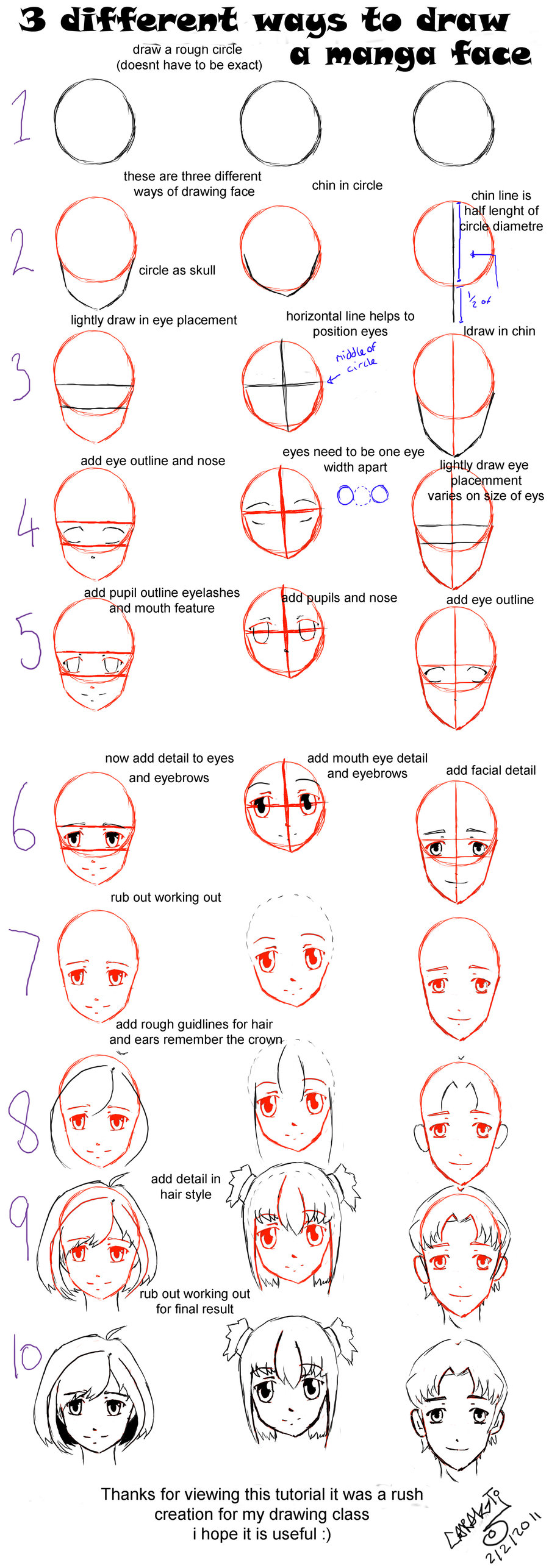 900x2572 Drawing Manga Faces 3 Dif Ways By Petziey