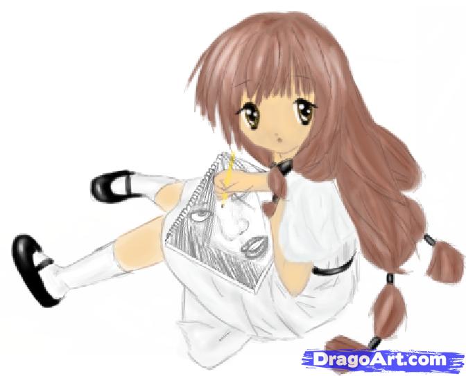672x543 Drawn Manga Person Drawing