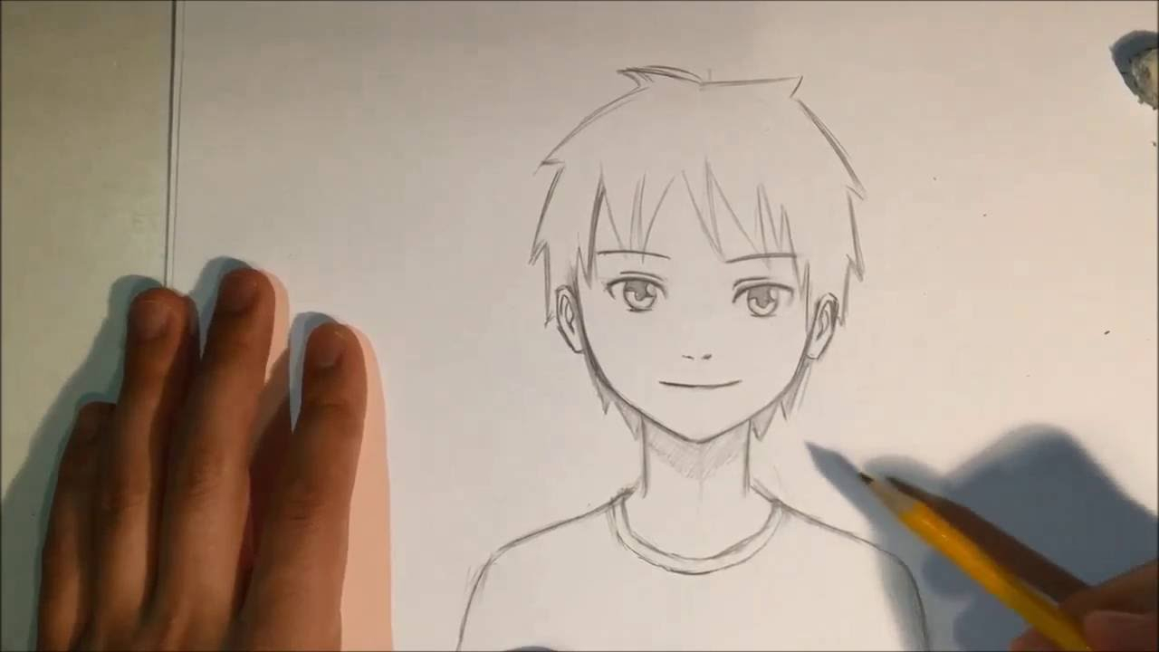 1280x720 How To Draw An Anime Boy Face Drawn Manga Male Drawing
