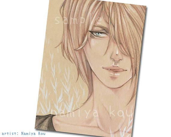 570x456 Kraft Paper Aceo Print Handsome Manga Boy Portrait Colored