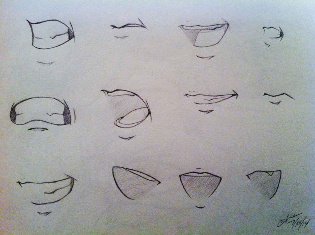 1024x765 Anime Mouth Sketches By Lonewolfbeliever