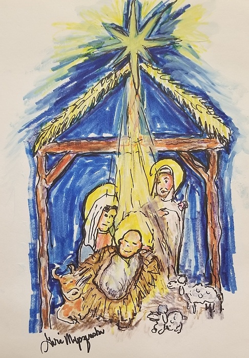 486x699 Christmas In The Manger Drawing By Geraldine Myszenski