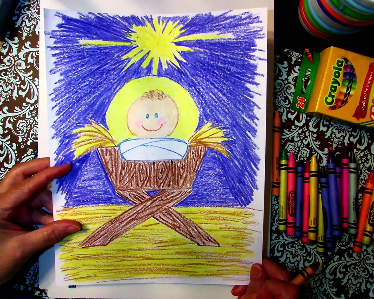 1280x1024 Drawing Baby Jesus In A Manger With Gammy