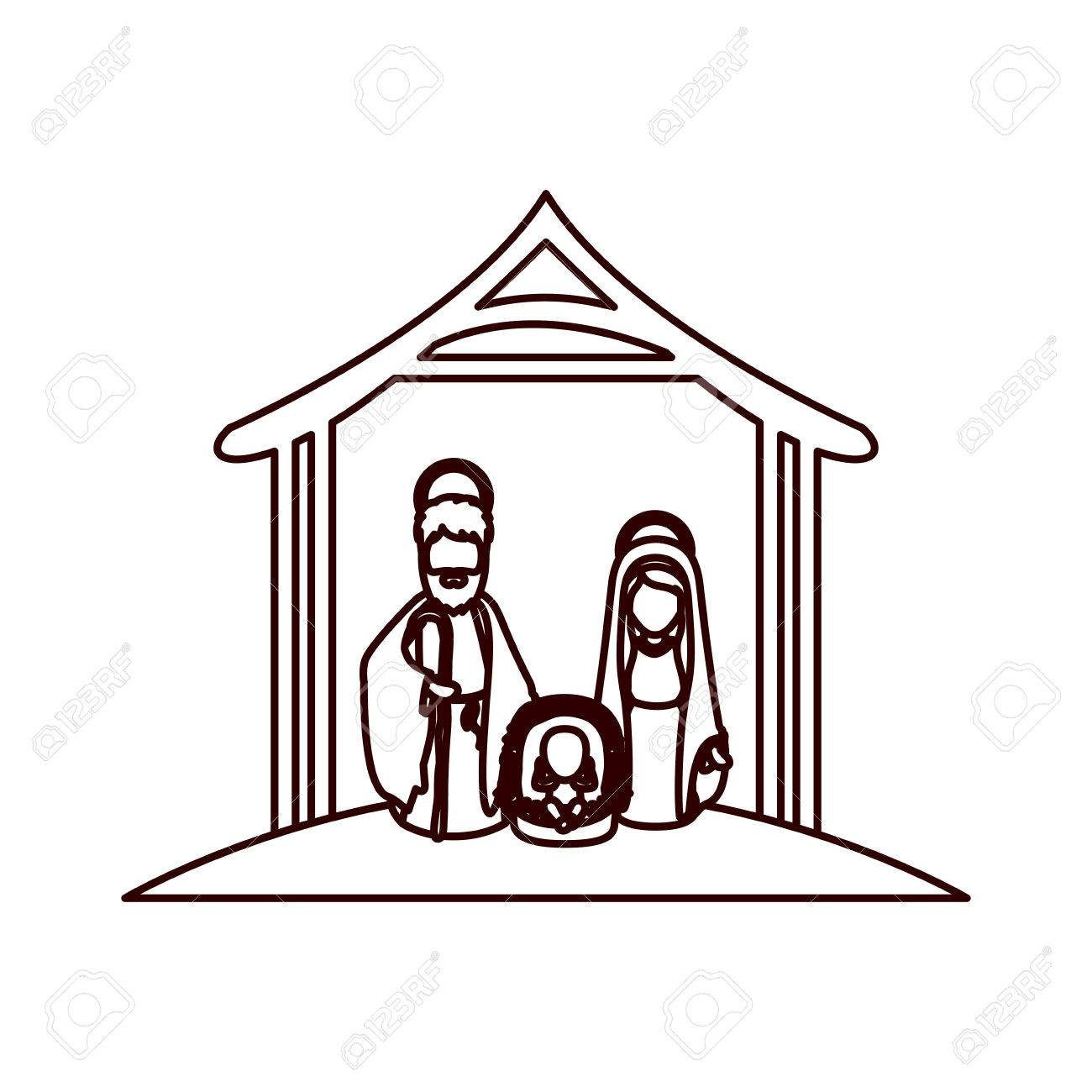 1300x1300 Monochrome Contour With Virgin Mary And Saint Joseph And Jesus
