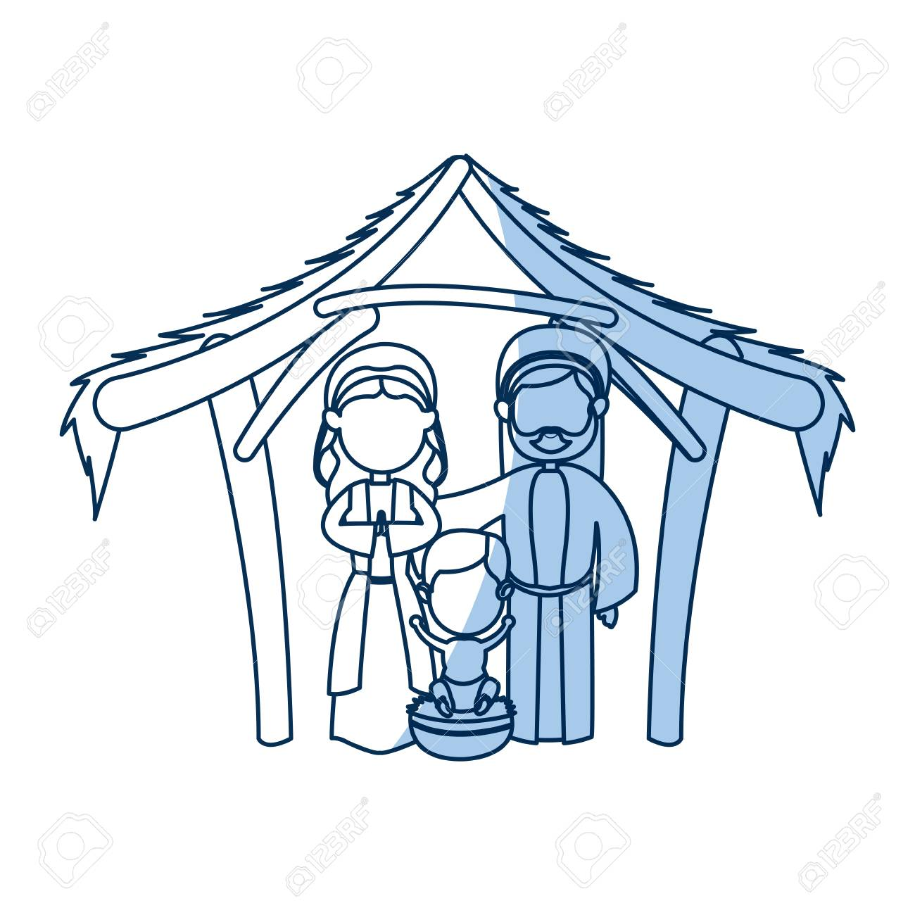 1300x1300 Outlined Manger Mary Joseph Baby Jesus Nativity Celebration Vector