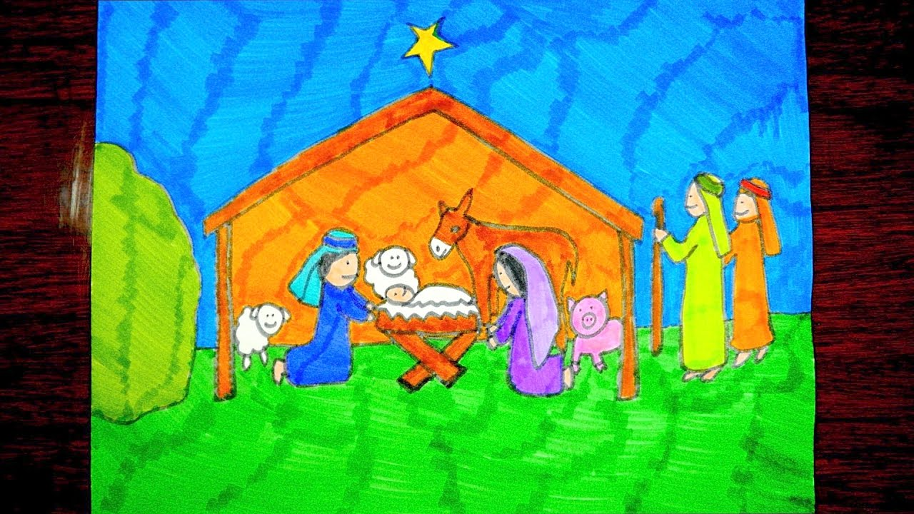 1280x720 How To Draw A Nativity Scene Christmas Drawings For Kids