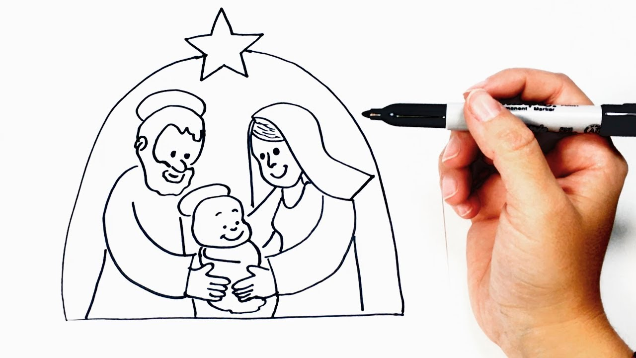 1280x720 How To Draw A Nativity Scene Step By Step