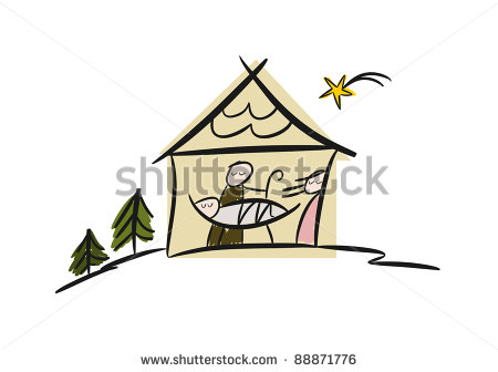 450x336 Stock Photo Colorful Drawing Of Nativity Scene With Manger Family