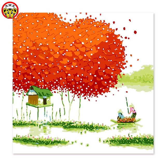 640x640 Boat Mangrove Forest Red Leaf Tree Draw On Canvas Digital Painting