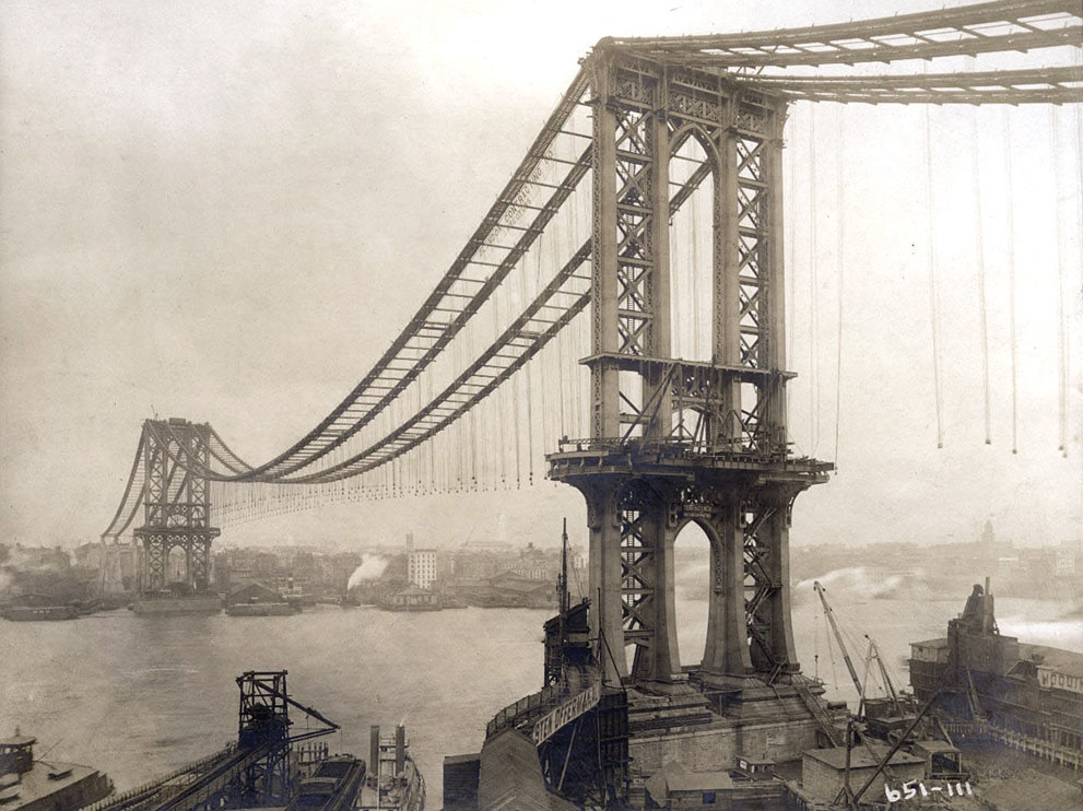 991x742 Construction Of The Manhattan Bridge In 1903 I Like To Waste My Time