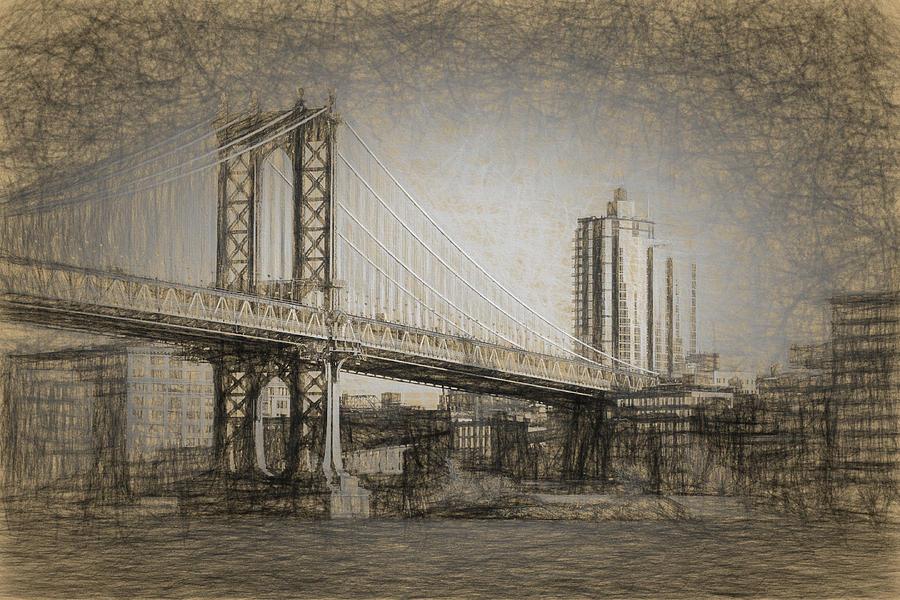 900x600 Manhattan Bridge Drawing By Thomas Logan