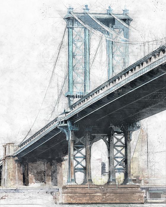 560x700 Manhattan Bridge Nyc Drawing By Melissa Smith