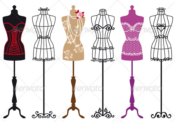 590x413 Vintage Fashion Mannequins, Vector Set By Amourfou Graphicriver