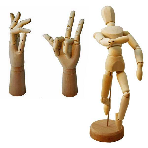 600x600 Set Wooden Mannequin Female Amp Male Articulated Hand For Artist