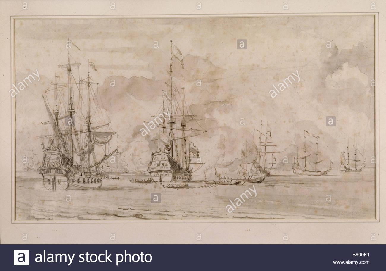 1300x911 Seascape Drawing Signed Van De Velde In The Parlour