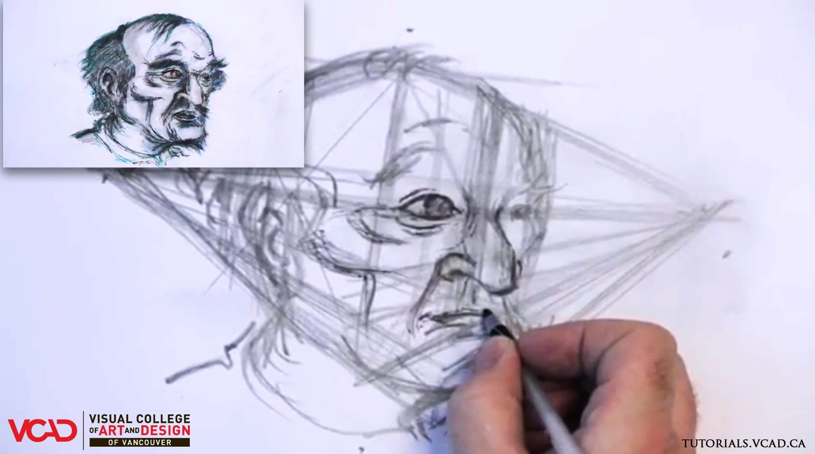 1666x929 Learn How To Draw An Old Man's Face In Two Point Perspective Part