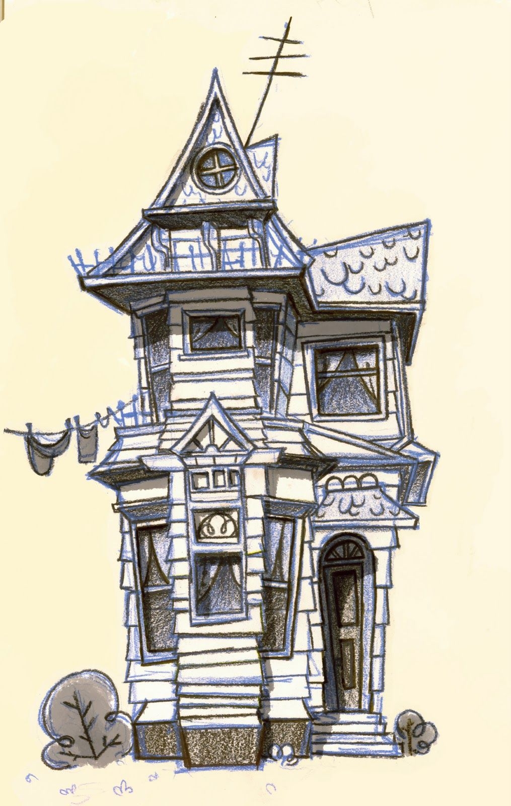 1015x1600 Creepy Mansion Drawing Haunted House Drawing Used To Drawing