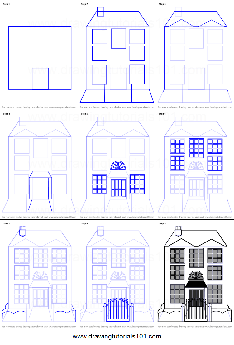 751x1107 How To Draw Mansion House Printable Step By Drawing Sheet