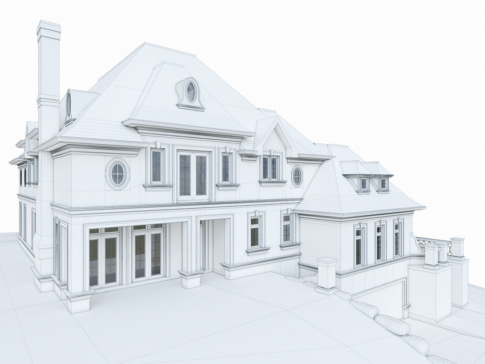 1600x1200 luxury mansion house 3d model cgtrader - 3d Drawing Of House