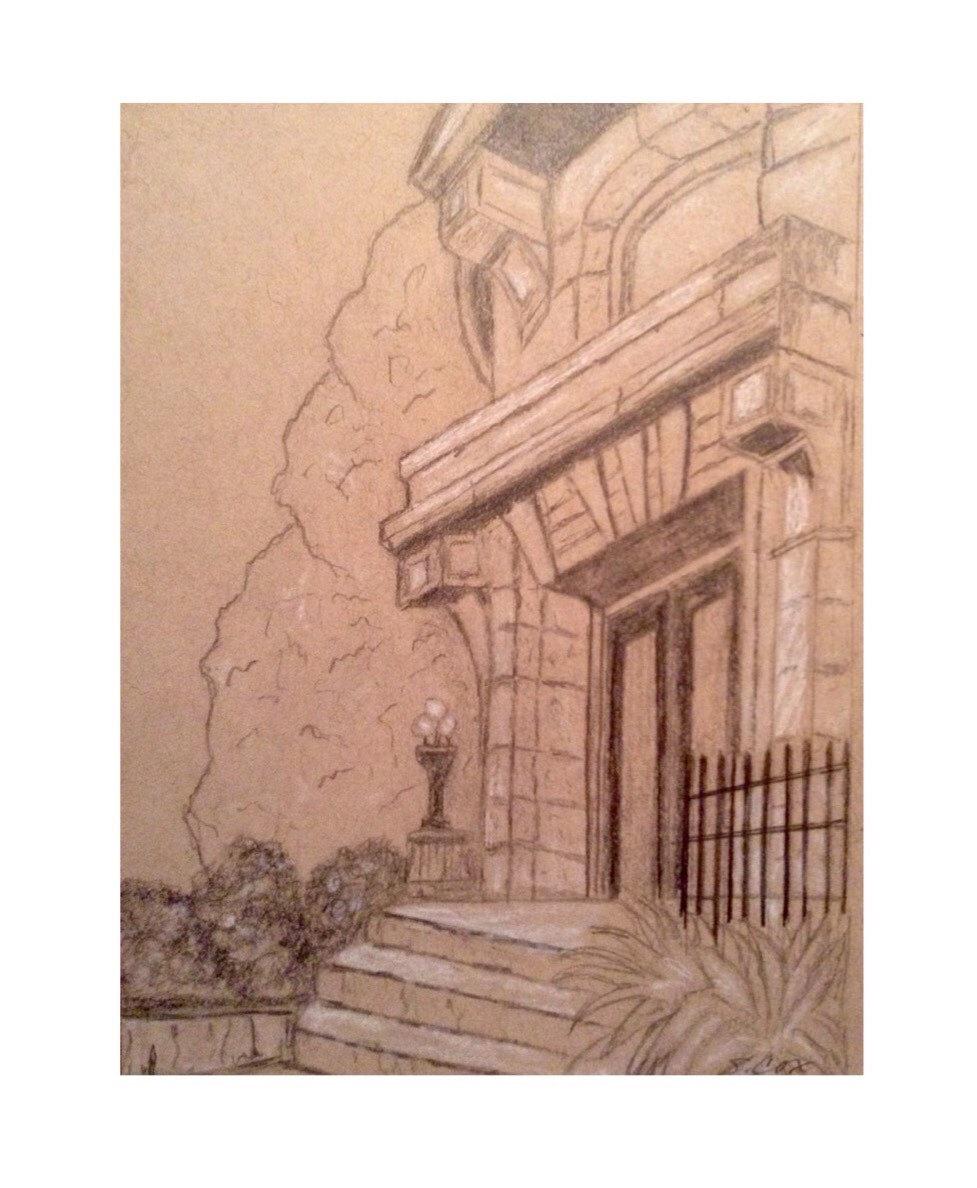 977x1188 Original Graphite Sketch, Architecture Pencil Drawing, Graphite