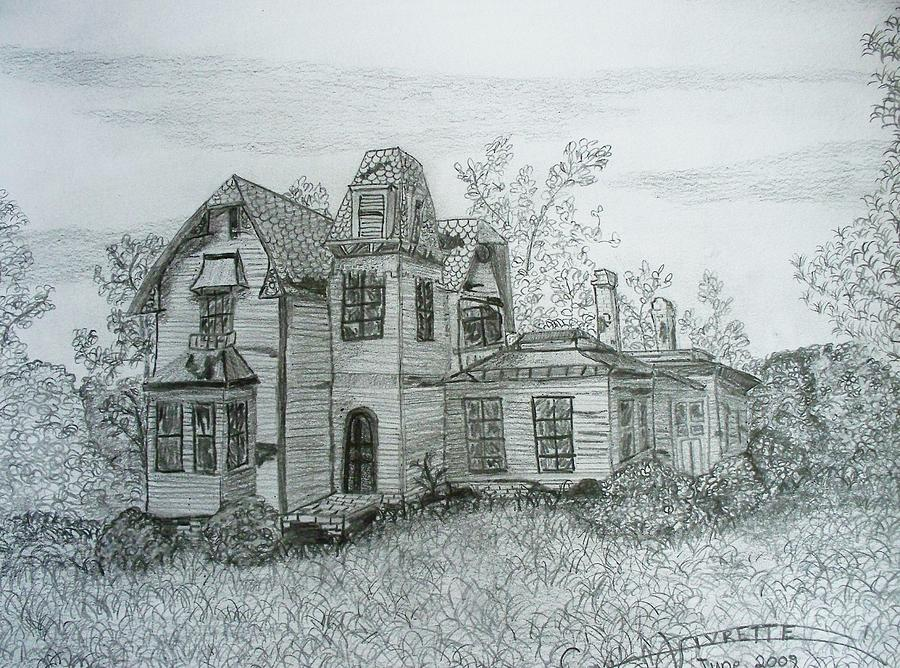 900x668 The Old Mansion Drawing By Carla Vivrette