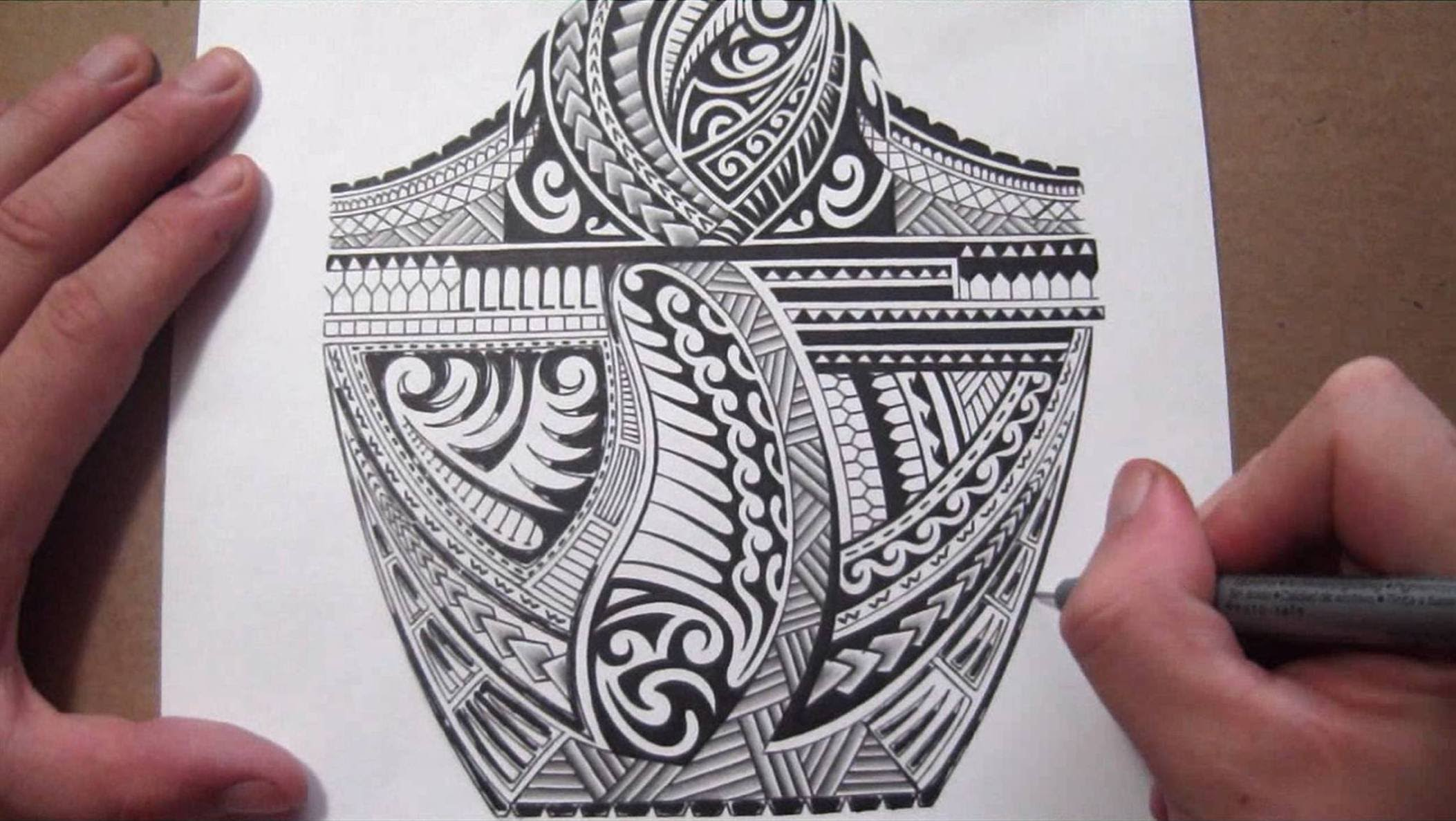 2106x1187 Maori Polynesian Tribal Half Sleeve Tattoo Design