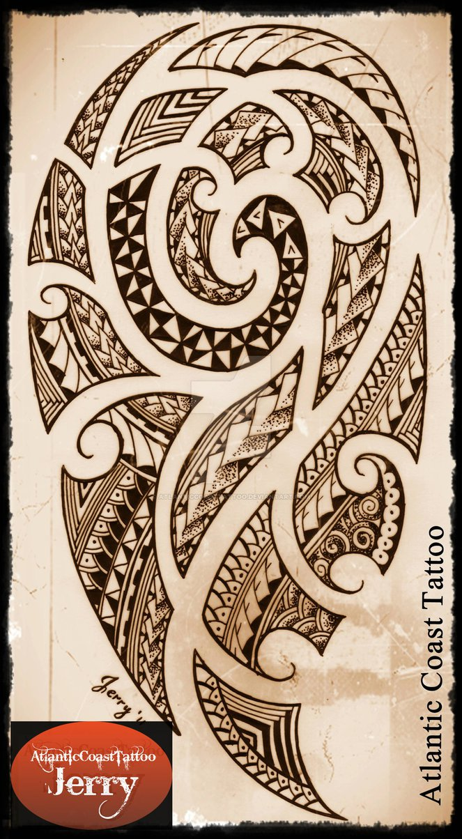 663x1204 Polynesian Maori Samoan Tattoo Design Drawing By